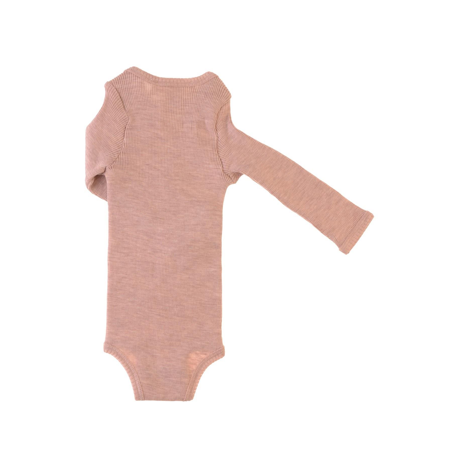 Langærmet body i rosa GOTS merinould fra Alerin - bagside