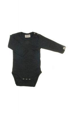 Body med lange ærmer i sortmeleret uld. Flot tynd kvalitet fra Papfar.