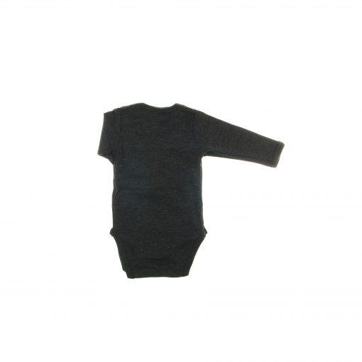 Body med lange ærmer i sortmeleret uld. Flot tynd kvalitet fra Papfar. Bagsiden.