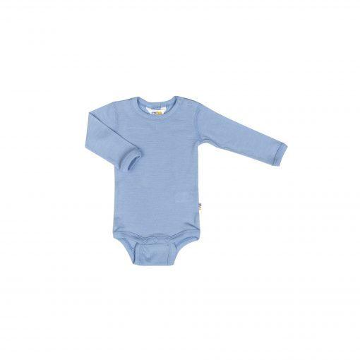 Langærmet body i lyseblå uld silke fra Joha.