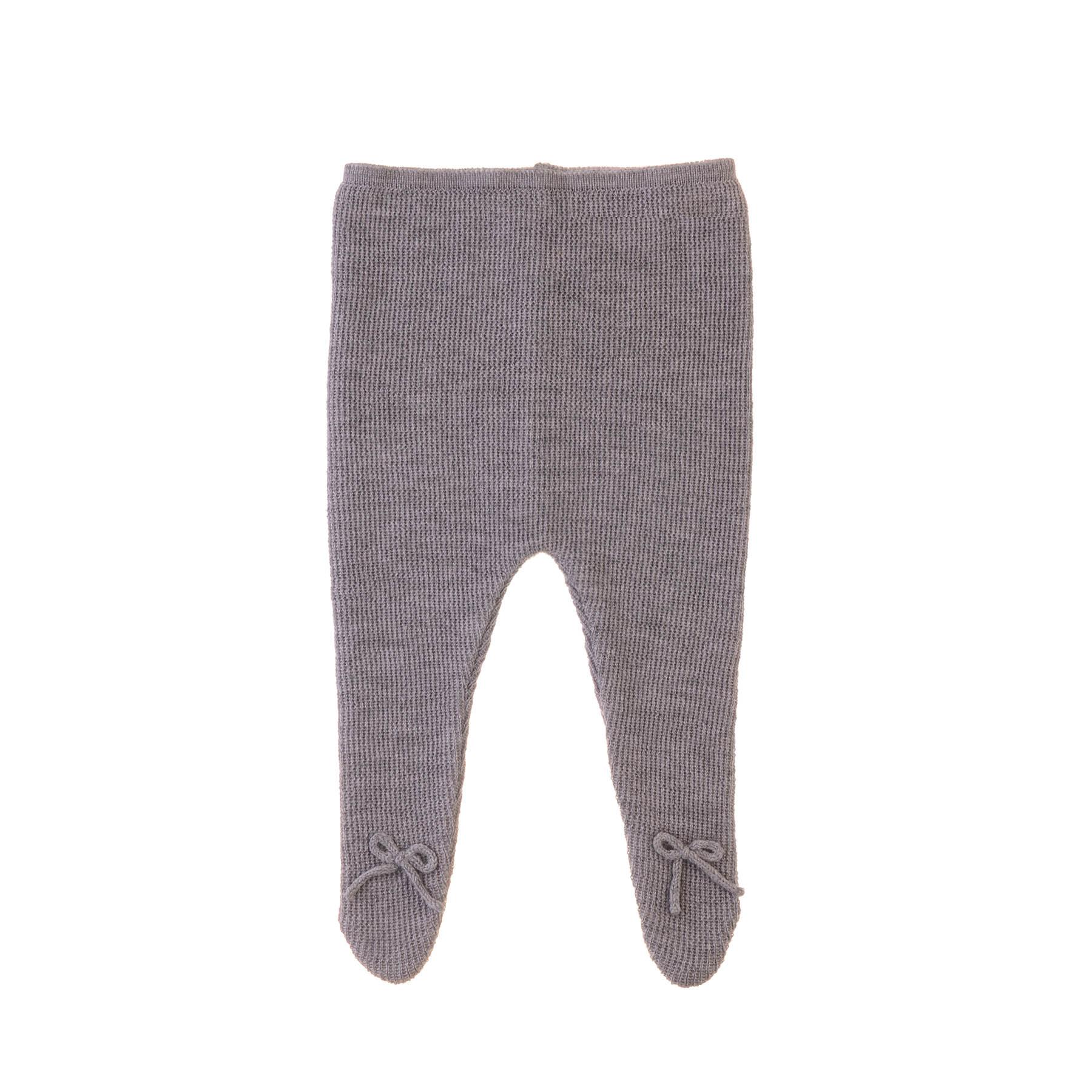 Leggings med fod i grå GOTS merinould strik fra Alerin