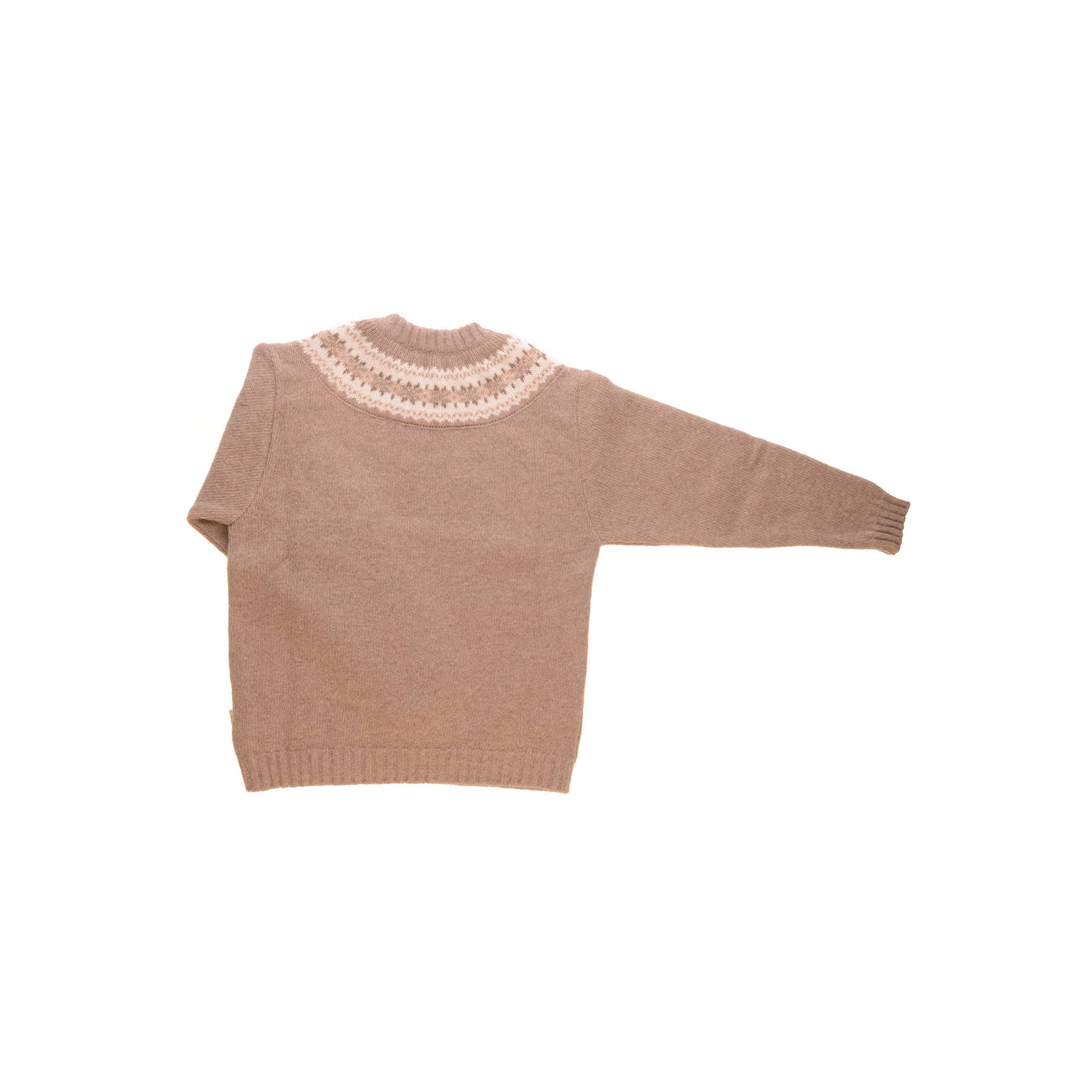 Sweater i uld fra Alerin. Cappucino sweater med mønster ved hals. Bagside