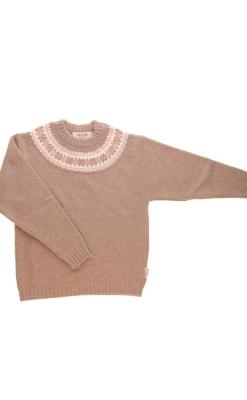 Sweater i uld fra Alerin. Cappucino sweater med mønster ved hals.