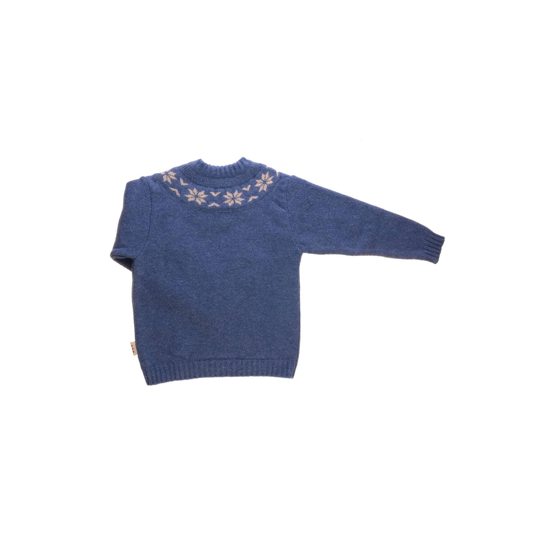 Sweater i uld fra Alerin. Blå sweater med mønster ved hals. Bagsiden