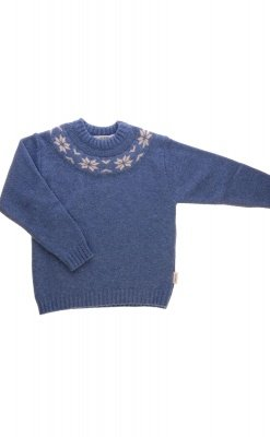 Sweater i uld fra Alerin. Blå sweater med mønster ved hals.