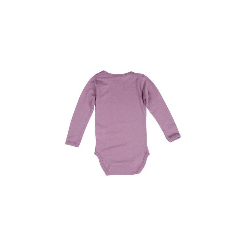 Body med lange ærmer. Støvet rosa model fra Papfar. Bagsiden.