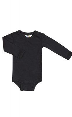 Langærmet body i sort uld-silke fra Joha