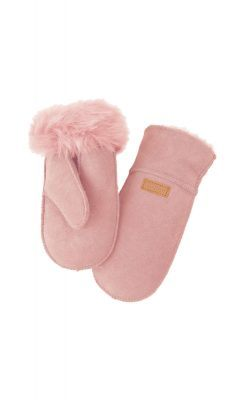 Skindluffer i rosa lammeskind. Melton.