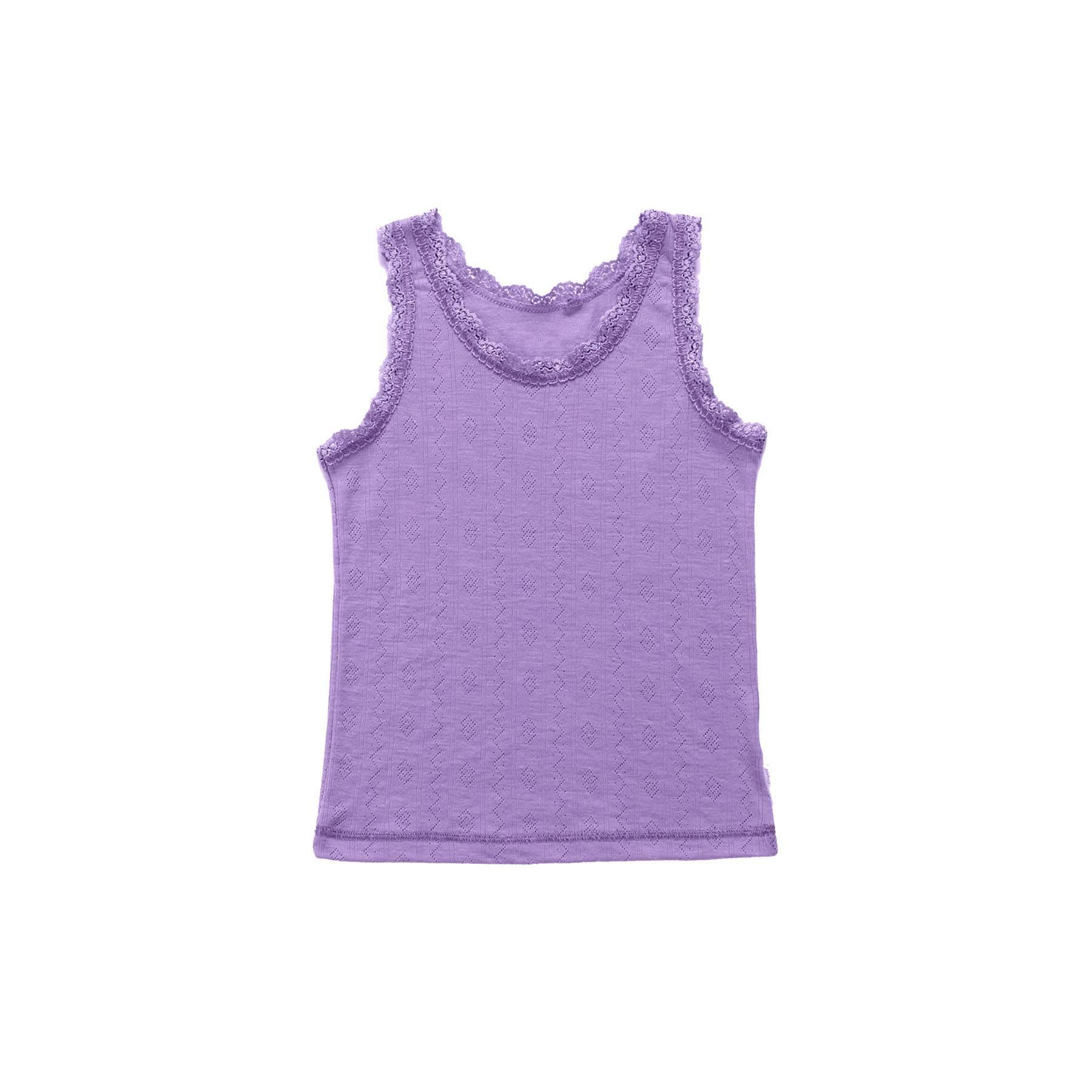 1a335aefaf6 Joha undertrøje til pige - Uld silke - Hulmønster og blondekanter - Lilla