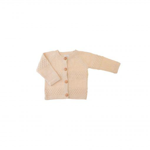 Cardigan i hvid alpaka uld fra FloFlo.