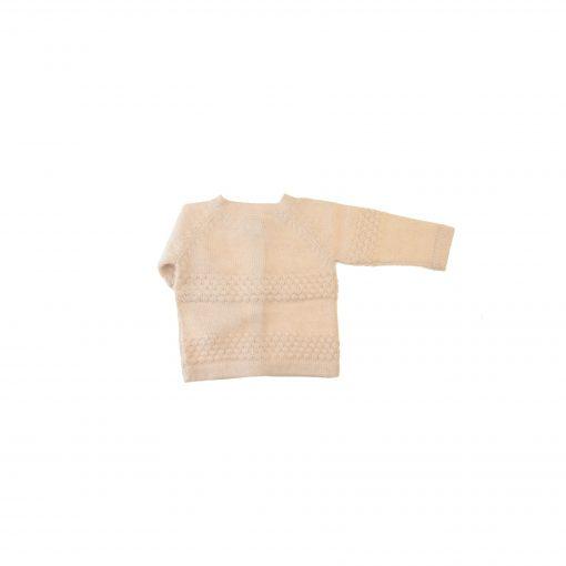 Cardigan i hvid alpaka uld fra FloFlo. Bagsiden.