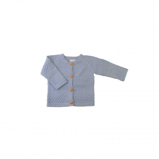 Cardigan i lyseblå alpaka uld fra FloFlo.