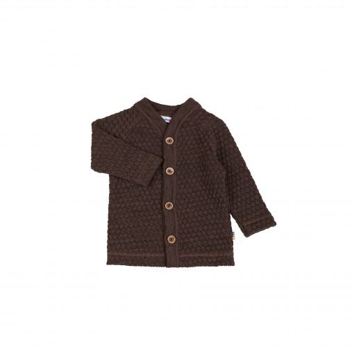 Cardigan i brun uld fra Joha. Cardigan har knapper i træ