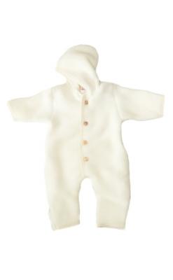 Engel køredragt i fleece softuld. Hvid model i økologisk uld.