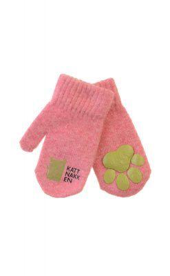 Luffer i lyserød uld fra Kattnakken. Lufferne har pote i hånden.