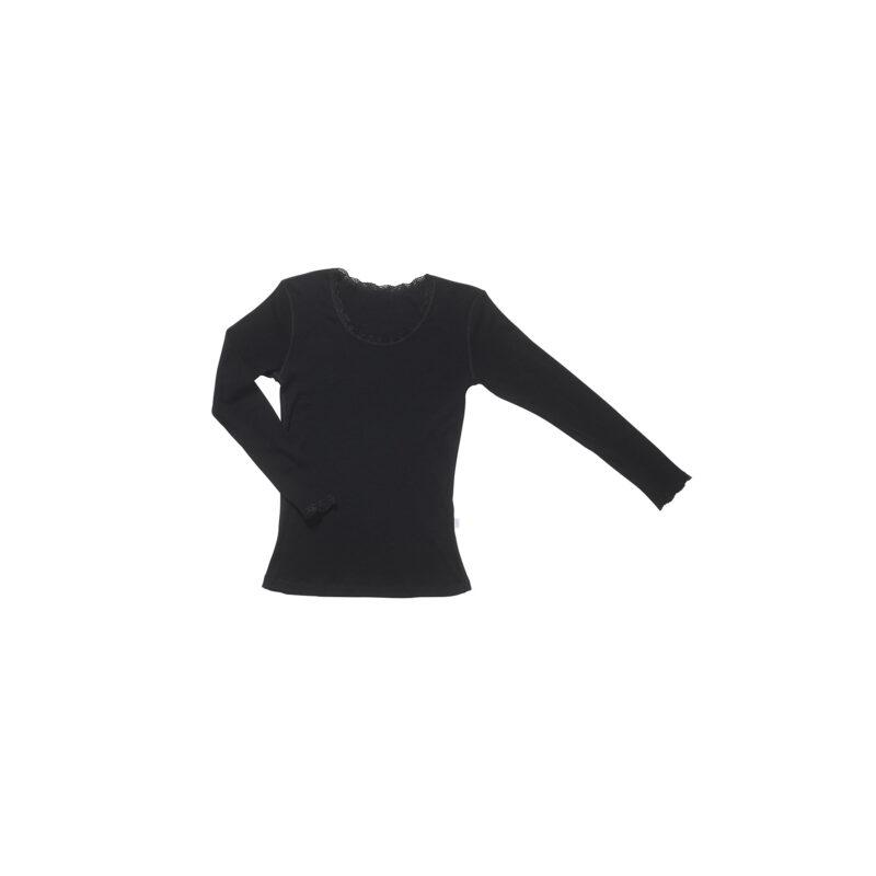 Bluse med blondekanter i uld til kvinder. Fra Joha - sort.