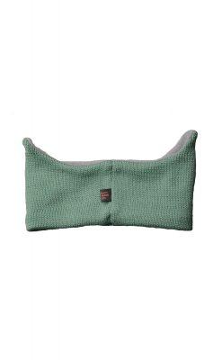Pandebånd i pistacie uld. Refleksøjne og ører. Bagsiden.
