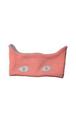 Pandebånd i rosa uld. Refleksøjne og ører.