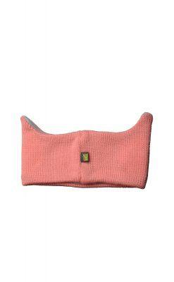 Pandebånd i rosa uld. Refleksøjne og ører. Bagsiden.