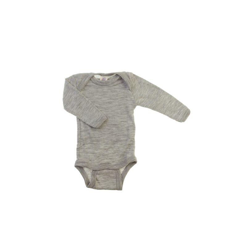 Langærmet body i gråmeleret økologisk GOTS uld silke fra Engel.