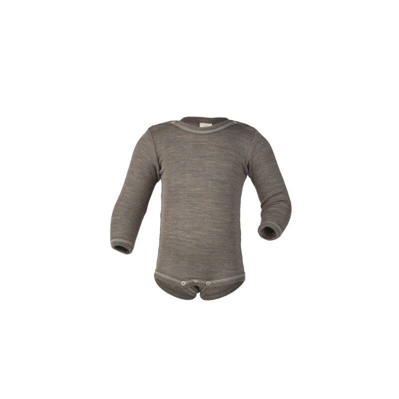 Body med lange ærmer i økologisk GOTS uld silke fra Engel. Budy'en er lysebrun og har knapper på skuldre.