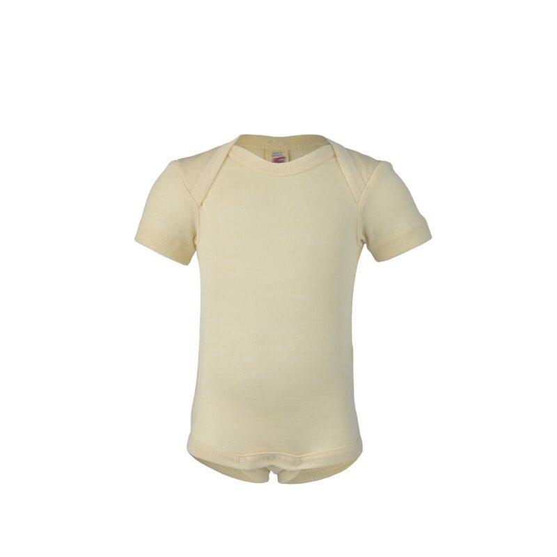 Body med korte ærmer i hvid økologisk GOTS uld-silke. Engel.