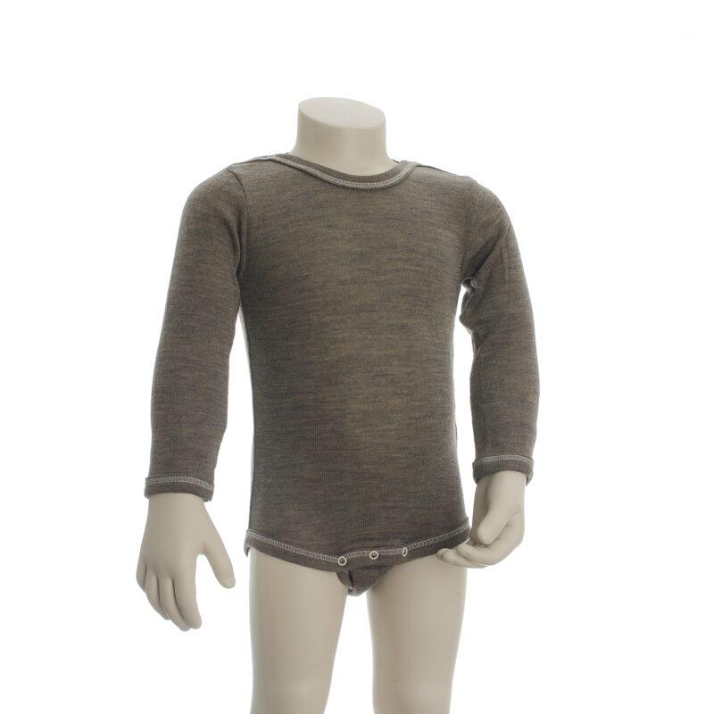 Økologisk body med lange ærmer i brun uld silke. Body'en er fra Engel. GOTS certificeret.