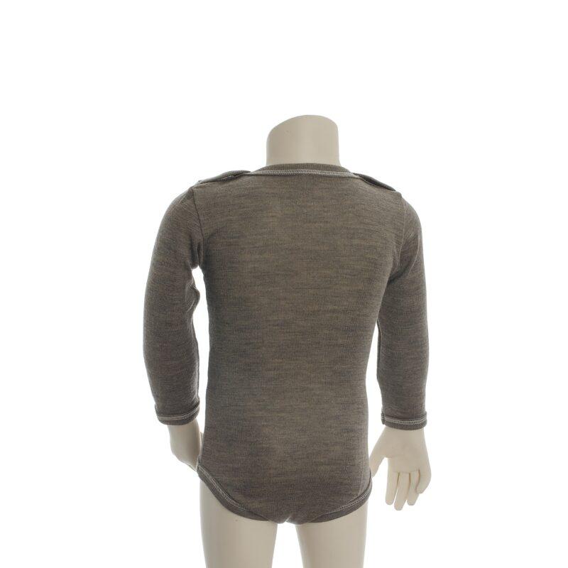 Økologisk body med lange ærmer i brun uld silke. Body'en er fra Engel. Bagsiden.