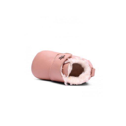 bisgaard hjemmesko i rosa læder. Hjemmeskoen er foret godt med uld.