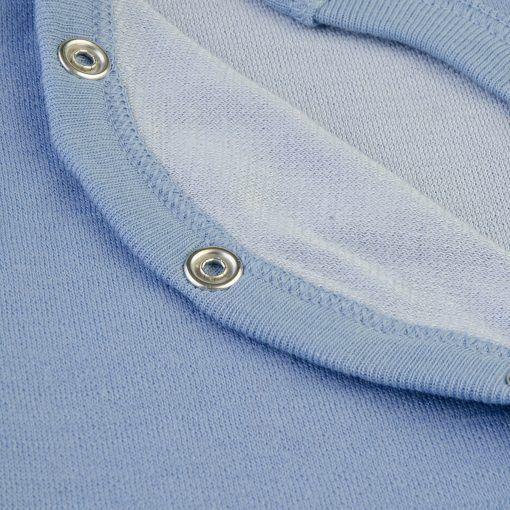 Langærmet body med folde om lukning til for tidligt født barn. Uld bambus i blå fra Joha. Detalje af indersiden med bambus.