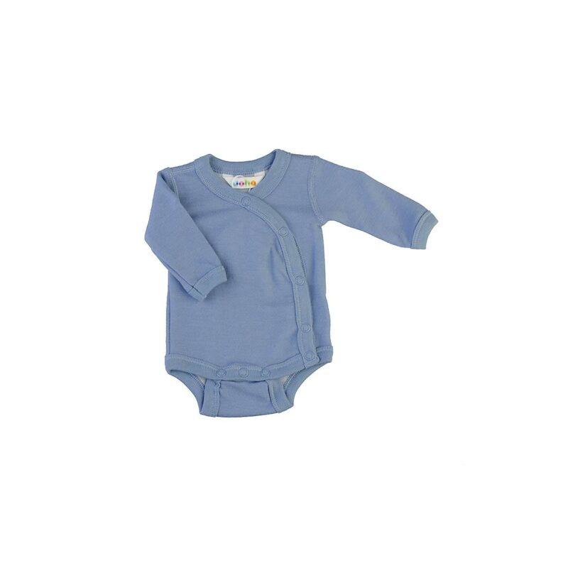 Langærmet body med folde om lukning til for tidligt født barn. Uld bambus i blå fra Joha.