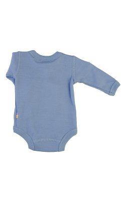Langærmet body med folde om lukning til for tidligt født barn. Uld bambus i blå fra Joha. Bagsiden.