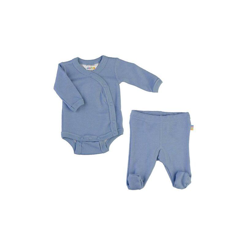 Præmatur tøj bundle bestående af langærmet body og leggings i blå uld bambus fra Joha.