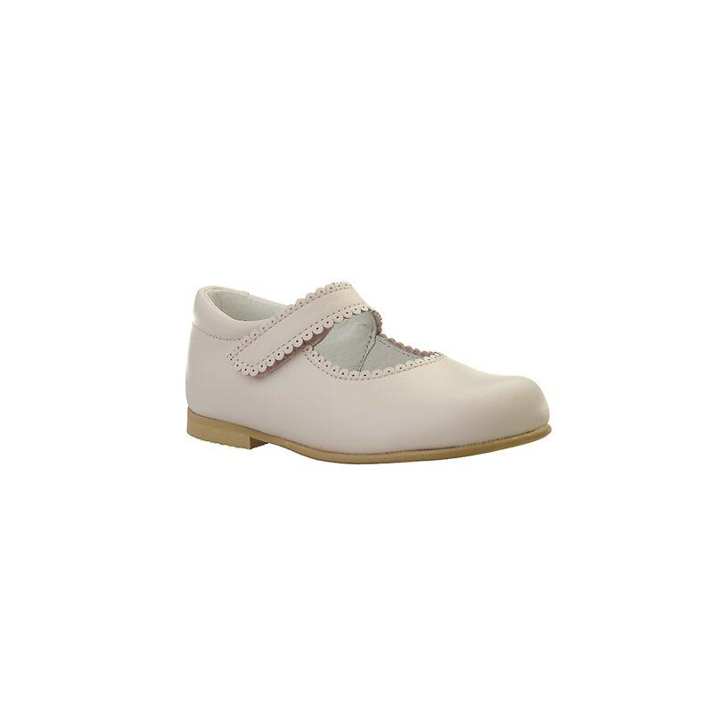 Ballerina sko i rosa skind. Ægte skind og sål af naturgummi. Fint hulmønster og velcrolukning. Alerin.