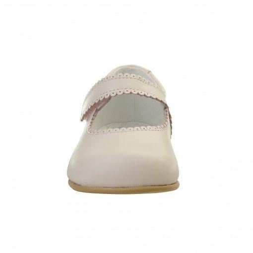 Ballerina sko i rosa skind. Ægte skind og sål af naturgummi. Set forfra. Alerin.