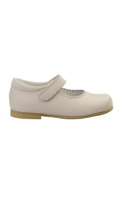 Ballerina sko i rosa skind. Ægte skind og sål af naturgummi. Set ligefra ydersiden. Alerin.