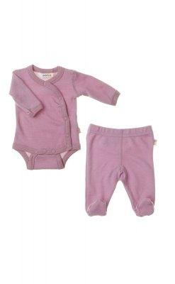 Præmatur tøj bundle bestående af langærmet body og leggings i lyserød uld bambus fra Joha.