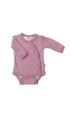 Langærmet body med folde om lukning til for tidligt født barn. Uld bambus i lyserød fra Joha.