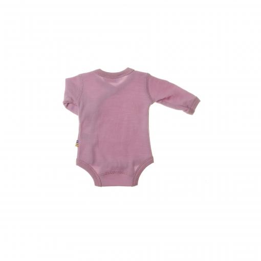 Langærmet body med folde om lukning til for tidligt født barn. Her ses bagsiden. Uld bambus i lyserød fra Joha.