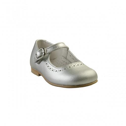 Ballerina sko i sølv. Sko i ægte skind. Alerin.