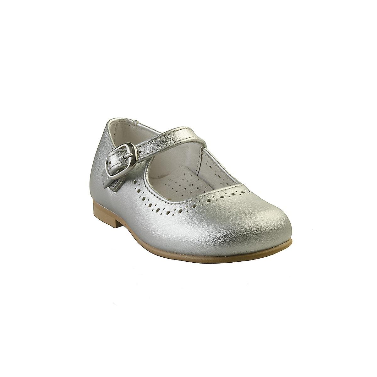 e547f32bdb6 Sølv ballerina sko med lille hæl - Ægte skind - Alerin