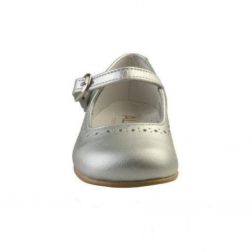 Ballerina sko i sølv. Sko i ægte skind. Set forfra. Alerin.