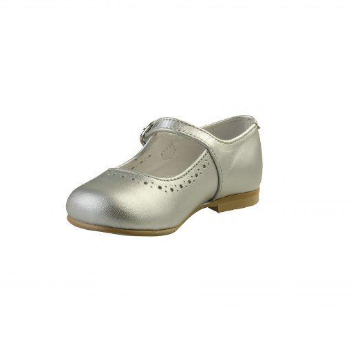 Ballerina sko i sølv. Sko i ægte skind. Set fra indersiden. Alerin.