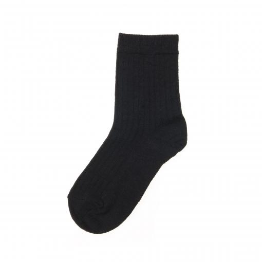 Strømpe til barn. Sort strømpe i uld og nylon fra MP. Ankelstrømpe i elastisk ribstrik.