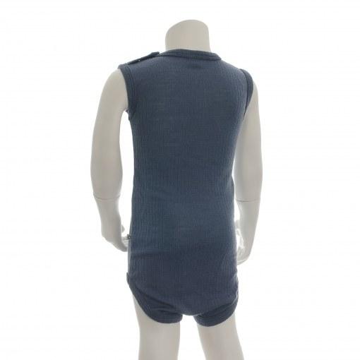 Body uden ærmer i støvet blå Oeko-Tex uld fra SmallStuff. Bagsiden.
