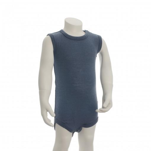 Body uden ærmer i støvet blå Oeko-Tex uld fra SmallStuff
