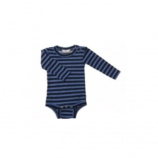 Langærmet body med blå striber. 100% svanemærket merinould fra Joha.