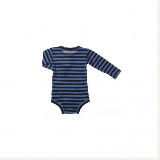 Langærmet body med blå striber. 100% svanemærket merinould fra Joha. Bagsiden.