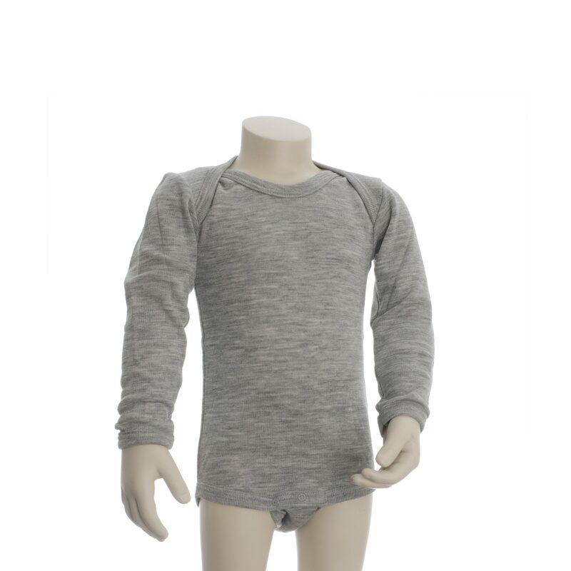 Langærmet økologisk body i grå uld silke fra Engel. Body har amerikansk lukning. GOTS.