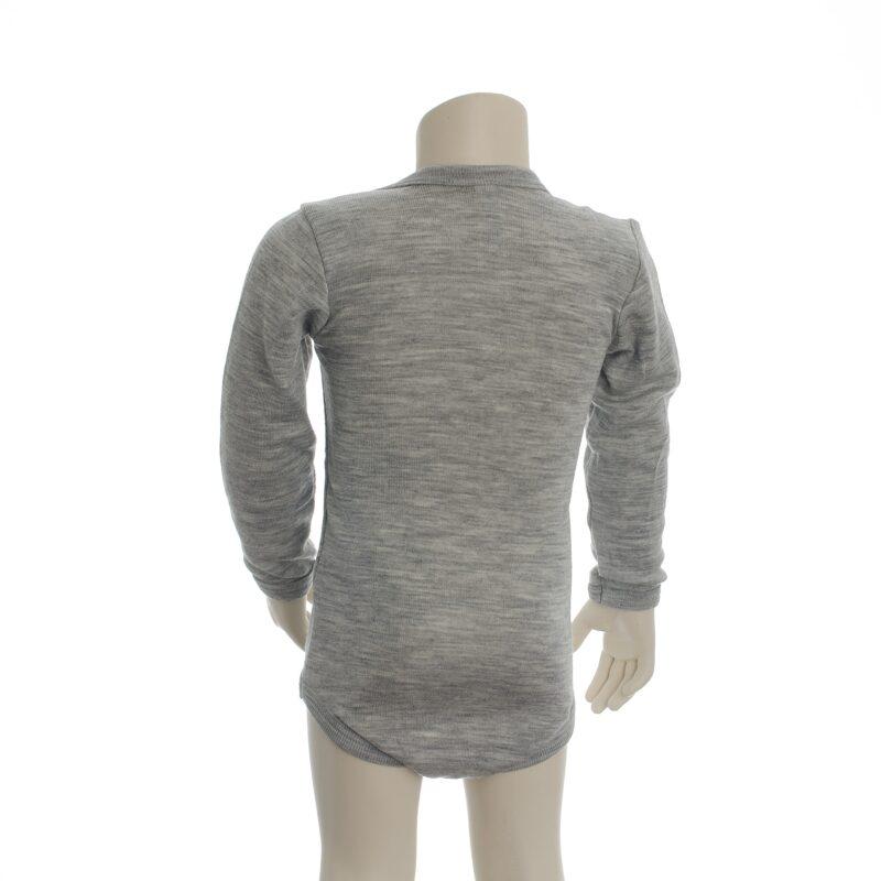 Langærmet økologisk body i grå uld silke fra Engel. Body har amerikansk lukning. Bagsiden.